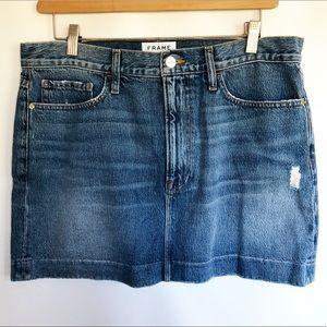 Frame Denim Mini Distressed Jean Skirt Stretch